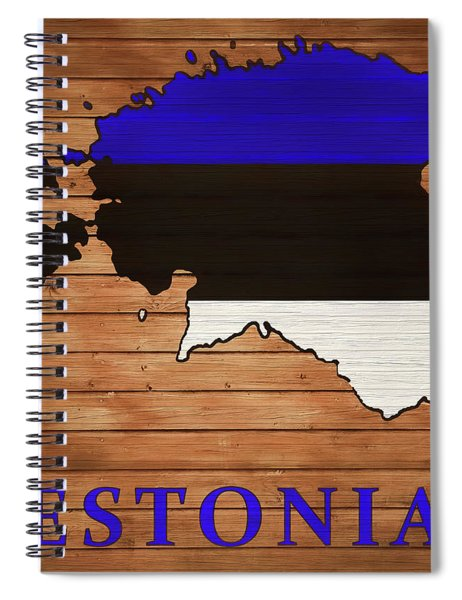 Estonia Rustic Map On Wood Spiral Notebook