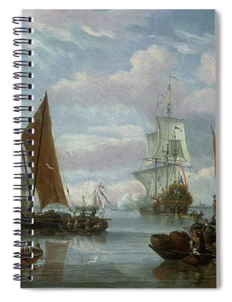 Estuary Scene With Boats And Fisherman Spiral Notebook