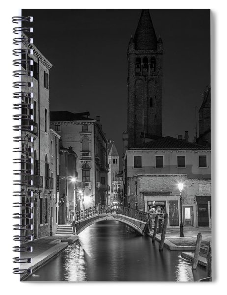 Evening Canal In Venice To The Tower  Spiral Notebook