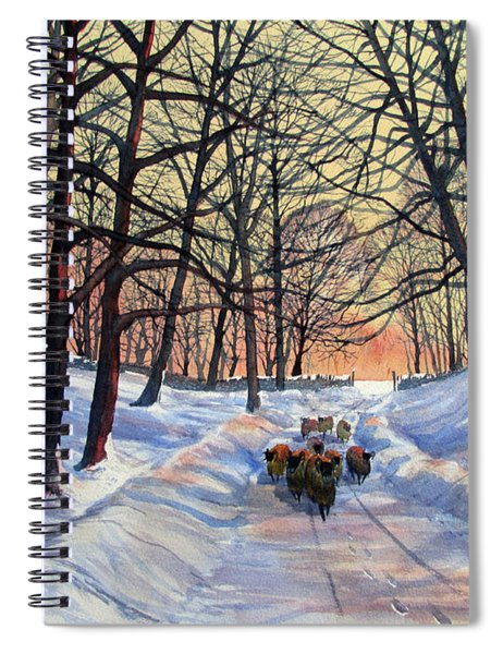 Evening Glow On A Winter Lane Spiral Notebook