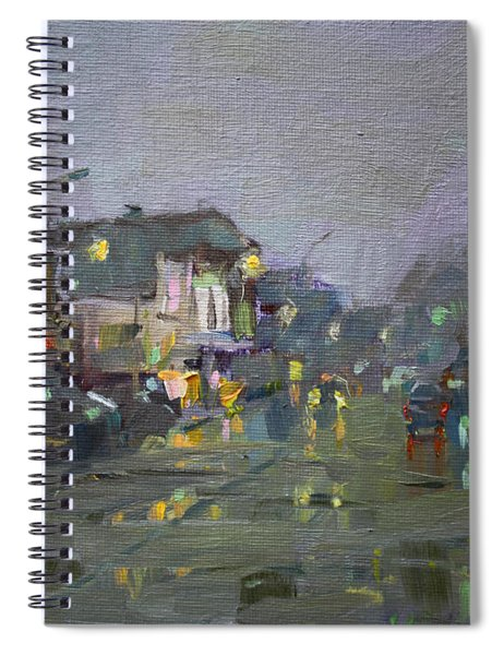 Evening Rain At Webster St Spiral Notebook