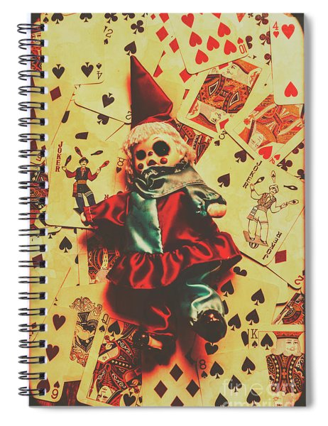 Evil Clown Doll On Playing Cards Spiral Notebook