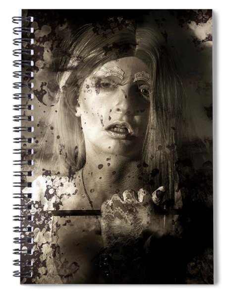 Evil Vampire Woman Looking Into Bloody Mirror Spiral Notebook