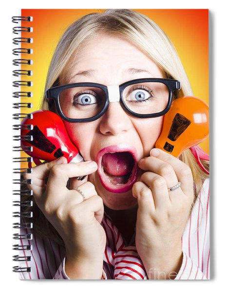 Excited Nerd Girl With Ideas To Innovate Spiral Notebook
