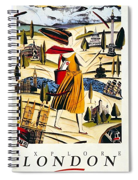 Explore London With A London Transport Explorer Pass - London Underground - Retro Travel Poster Spiral Notebook