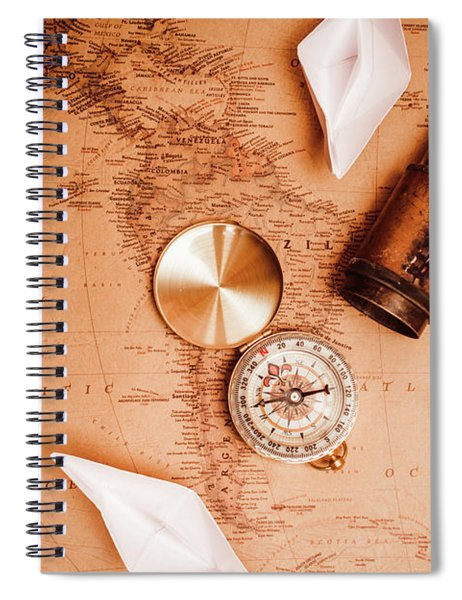 Explorer Desk With Compass, Map And Spyglass Spiral Notebook
