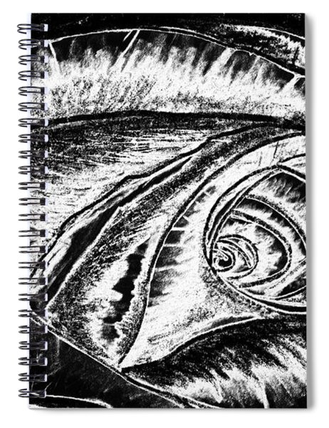 A0216a Expressive Abstract Black And White Spiral Notebook