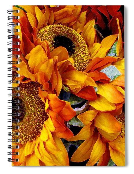 Spiral Notebook featuring the painting Expressive Digital Sunflowers Photo by Mas Art Studio