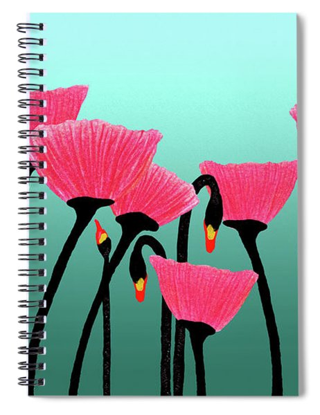 Expressive Red Pink Green Poppy Painting Y1a Spiral Notebook