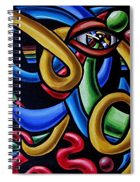 Colorful Illusion Optical Eye Art Painting Chromatic Art - Multicolor Chromatic Energy Flow Art  Spiral Notebook