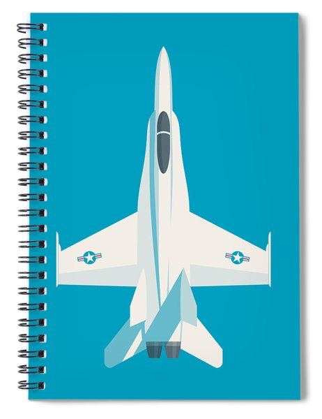 F-18 Hornet Jet Fighter Aircraft - Cyan Spiral Notebook