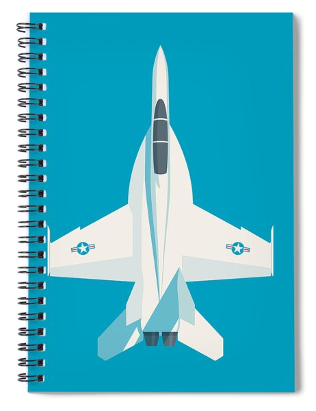 F-18 Super Hornet Jet Fighter Aircraft - Cyan Spiral Notebook