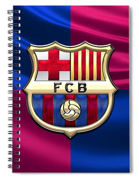 F. C. Barcelona - 3d Badge Over Flag Spiral Notebook
