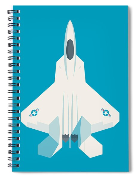 F22 Raptor Jet Fighter Aircraft - Cyan Spiral Notebook