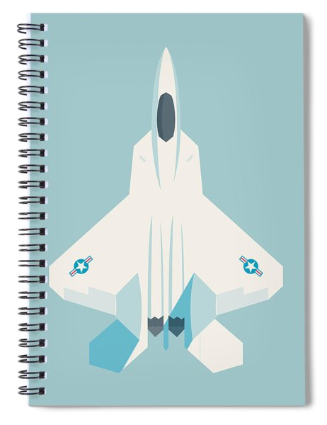 F22 Raptor Jet Fighter Aircraft - Sky Spiral Notebook