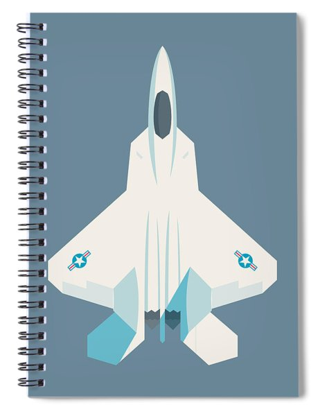 F22 Raptor Jet Fighter Aircraft - Slate Spiral Notebook