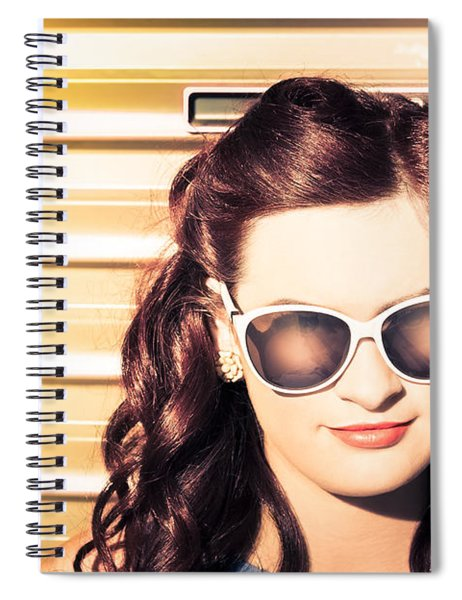 Face Of A Retro Beauty Model In Cool Accessories Spiral Notebook