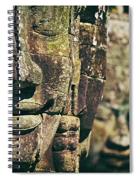 Faces Of Bayon Temple In Angkor Thom, Angkor Wat Temple Complex, Cambodia Spiral Notebook