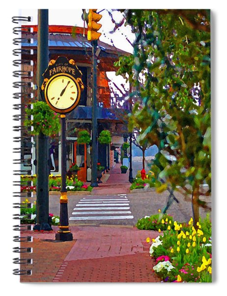 Fairhope Ave With Clock Down Section Street Spiral Notebook