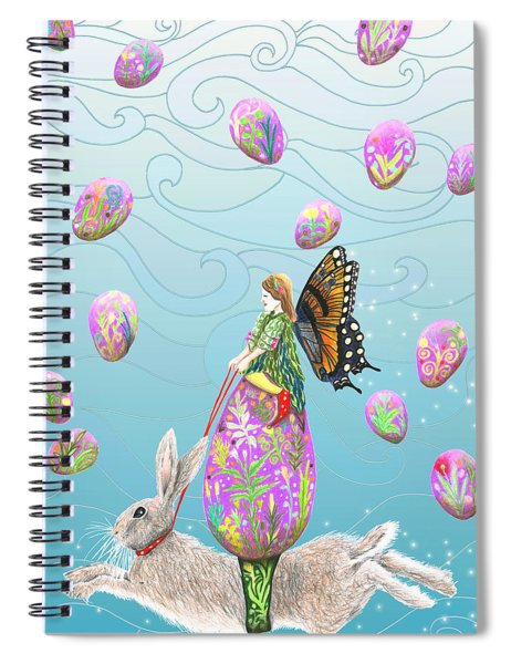 Fairy Riding An Egg And Easter Bunny Spiral Notebook