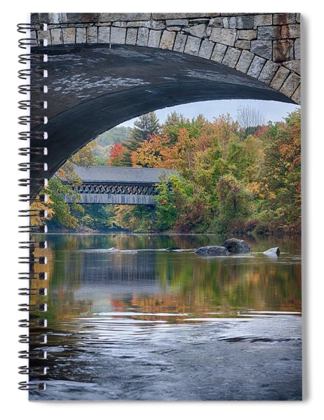 fall colors over Henniker covered bridge Spiral Notebook