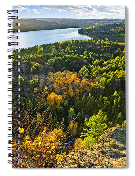 Fall Forest And Lake Top View Spiral Notebook