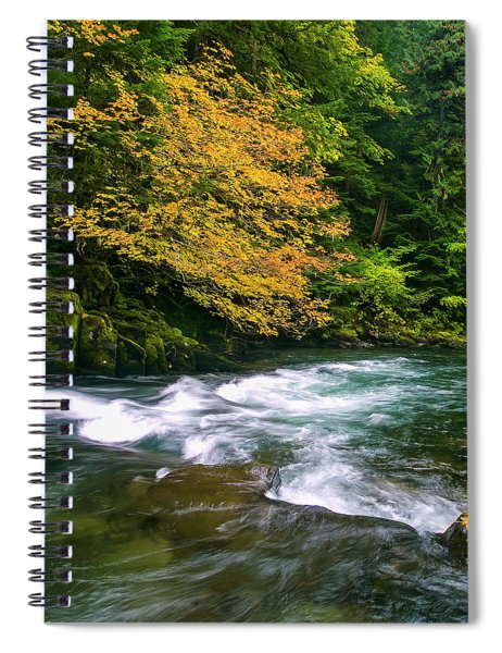 Fall On The Clackamas River, Or Spiral Notebook