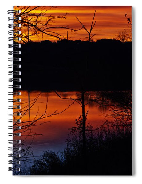 Spiral Notebook featuring the photograph Fall Sunset by Edward Peterson
