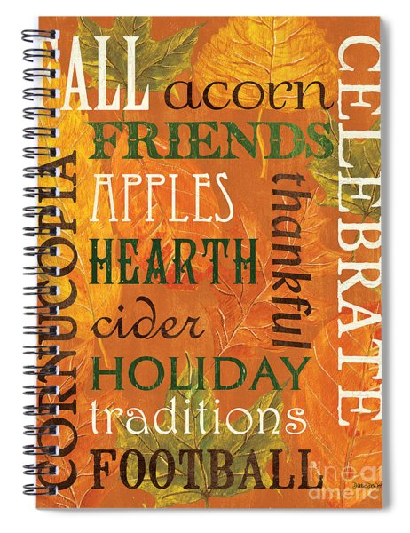 Fall Typography 2 Spiral Notebook
