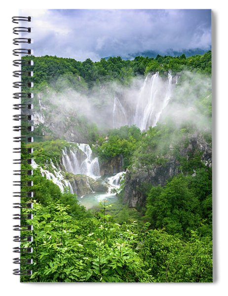 Falls Through The Fog - Plitvice Lakes National Park Croatia Spiral Notebook