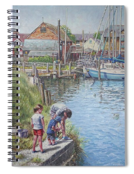 Family Fishing At Eling Tide Mill Hampshire Spiral Notebook