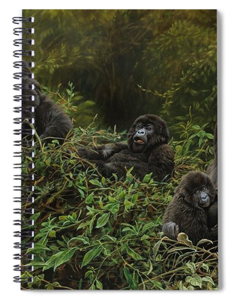 Spiral Notebook featuring the painting Family Of Gorillas by Alan M Hunt