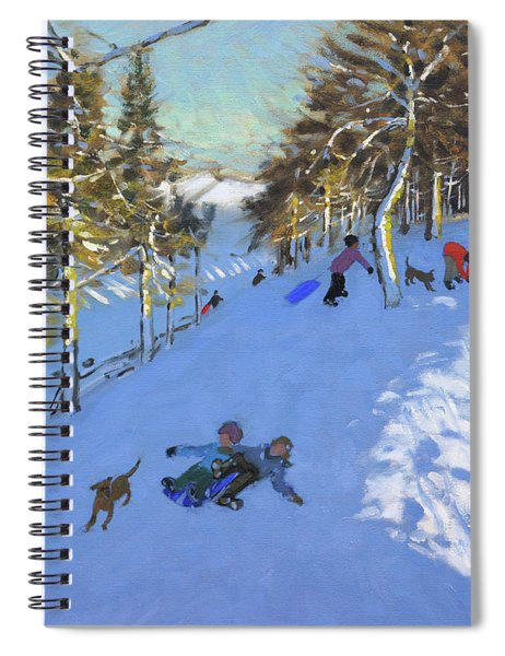 Family Sledging, Youlgreave, Derbyshire Spiral Notebook