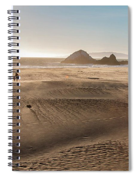 Family Walking On Sand Towards Ocean Spiral Notebook