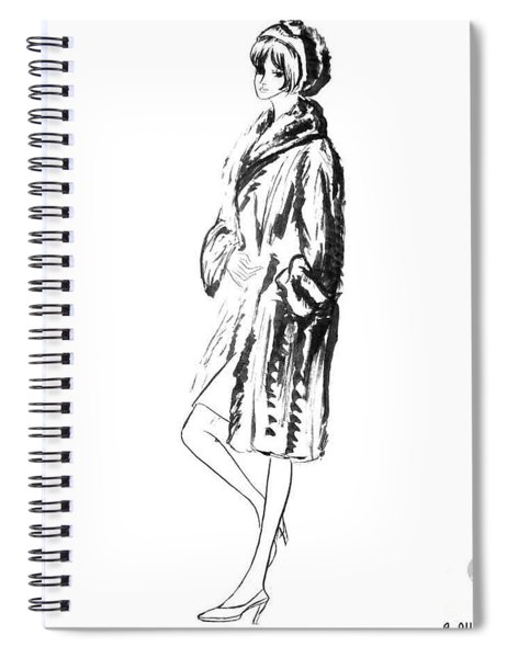 Fashion Girl In Fur Coat Spiral Notebook