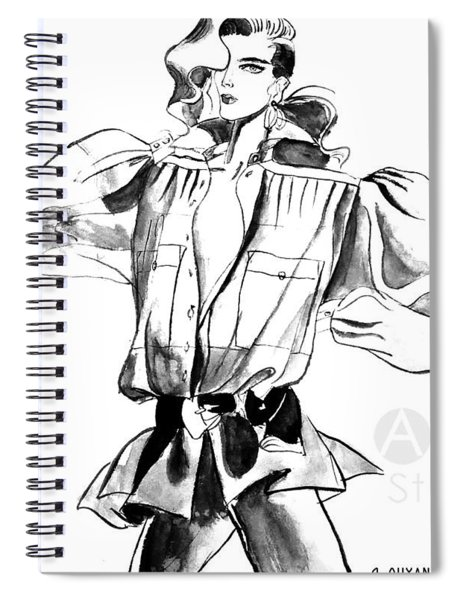 Fashion Girl With Big Sleeves Spiral Notebook