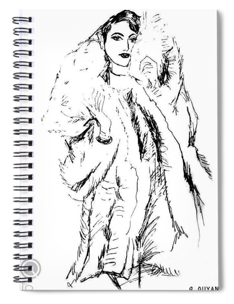 Fashion Lady In Fur Coat Spiral Notebook