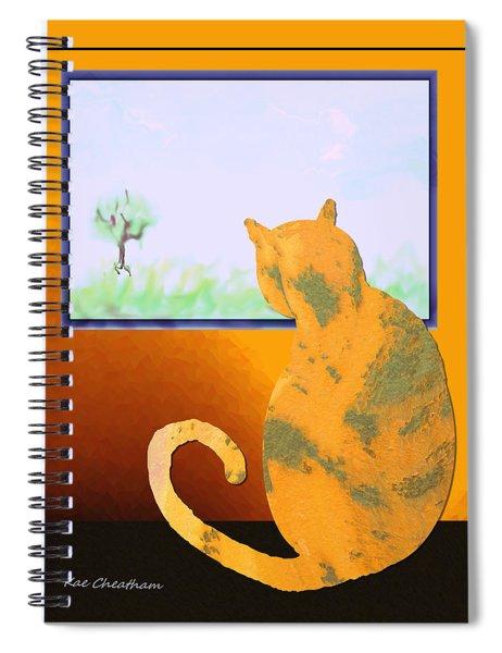Fat Cat At Her Window Spiral Notebook