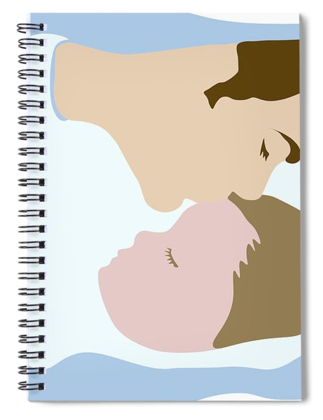 Father Kissing Sleeping Young Child Spiral Notebook