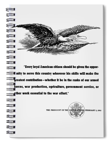 Fdr War Quote Spiral Notebook