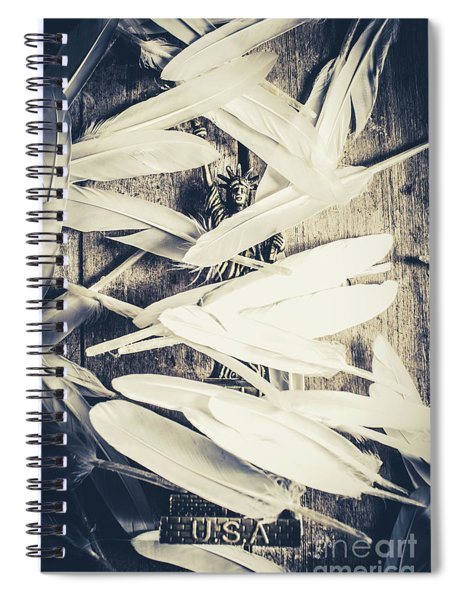 Feathers Of Freedom And The Statue Of Liberty Spiral Notebook