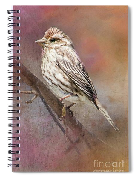 Female Sparrow On Branch Ginkelmier Inspired Spiral Notebook