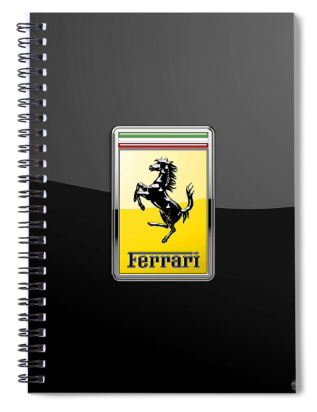 Ferrari 3d Badge- Hood Ornament On Black Spiral Notebook