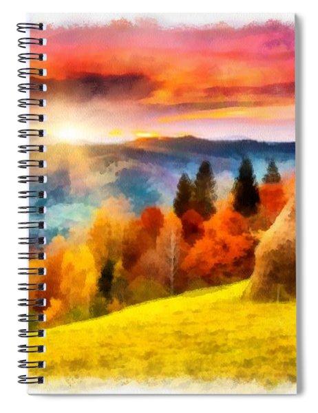 Field Of Autumn Haze Painting Spiral Notebook