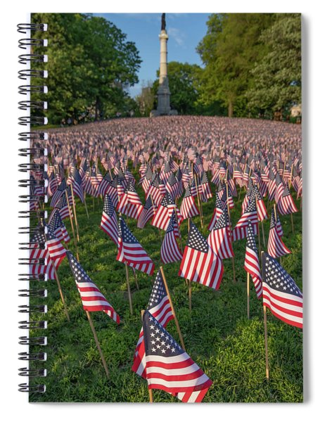 Field Of Flags At Boston's Soldiers And Sailors Monument Spiral Notebook
