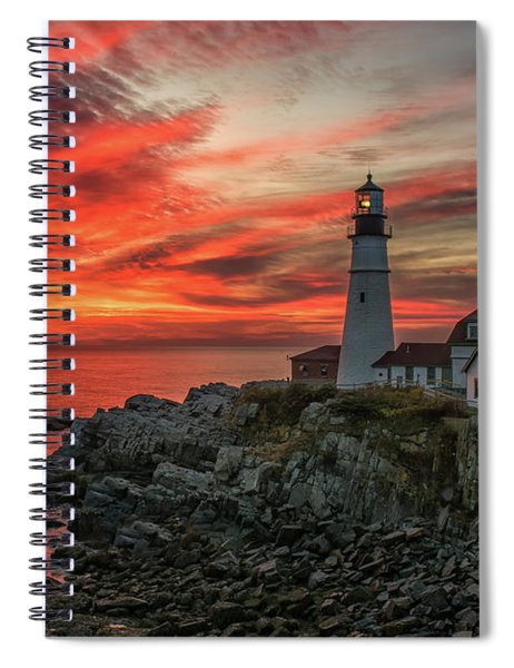 Fiery Sunrise At Portland Head Light Spiral Notebook