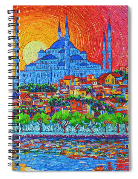 Fiery Sunset Over Blue Mosque Hagia Sophia In Istanbul Turkey Spiral Notebook
