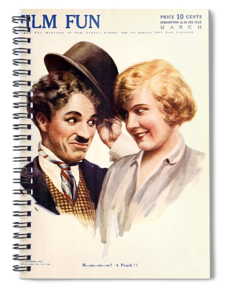Film Fun Classic Comedy Magazine Featuring Charlie Chaplin And Girl 1916 Spiral Notebook