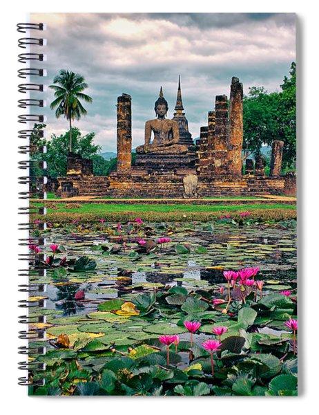 Finding Peace At Wat Mahathat  Spiral Notebook