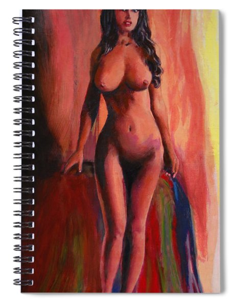 Fine Art Female Nude Jean Standing Original Multimedia Painting Spiral Notebook